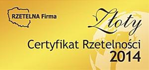 Złote Certyfikaty Rzetelności 2014 oraz 2015
