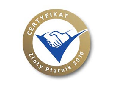 certyfika złoty płatnik 2016
