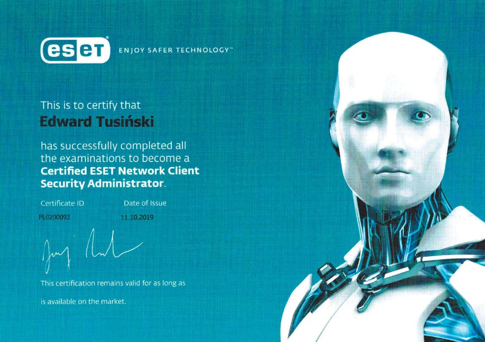 2019-09-30 Edward Tusiński_Certyfied ESET Client Security Administrator