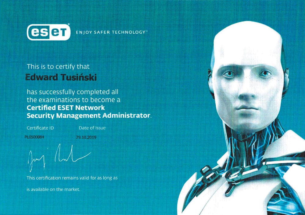 2019-10-29 Edward Tusiński_Certyfied ESET Network Security Management Administrator