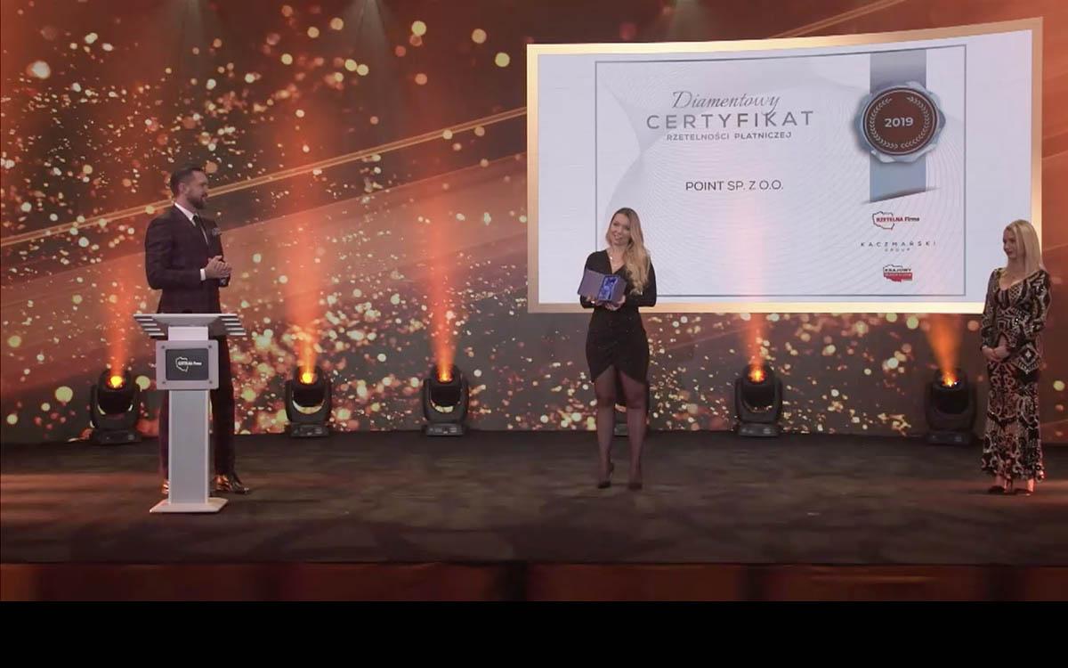 Firma Point otrzymuje Diamentowy Certyfikat Rzetelności